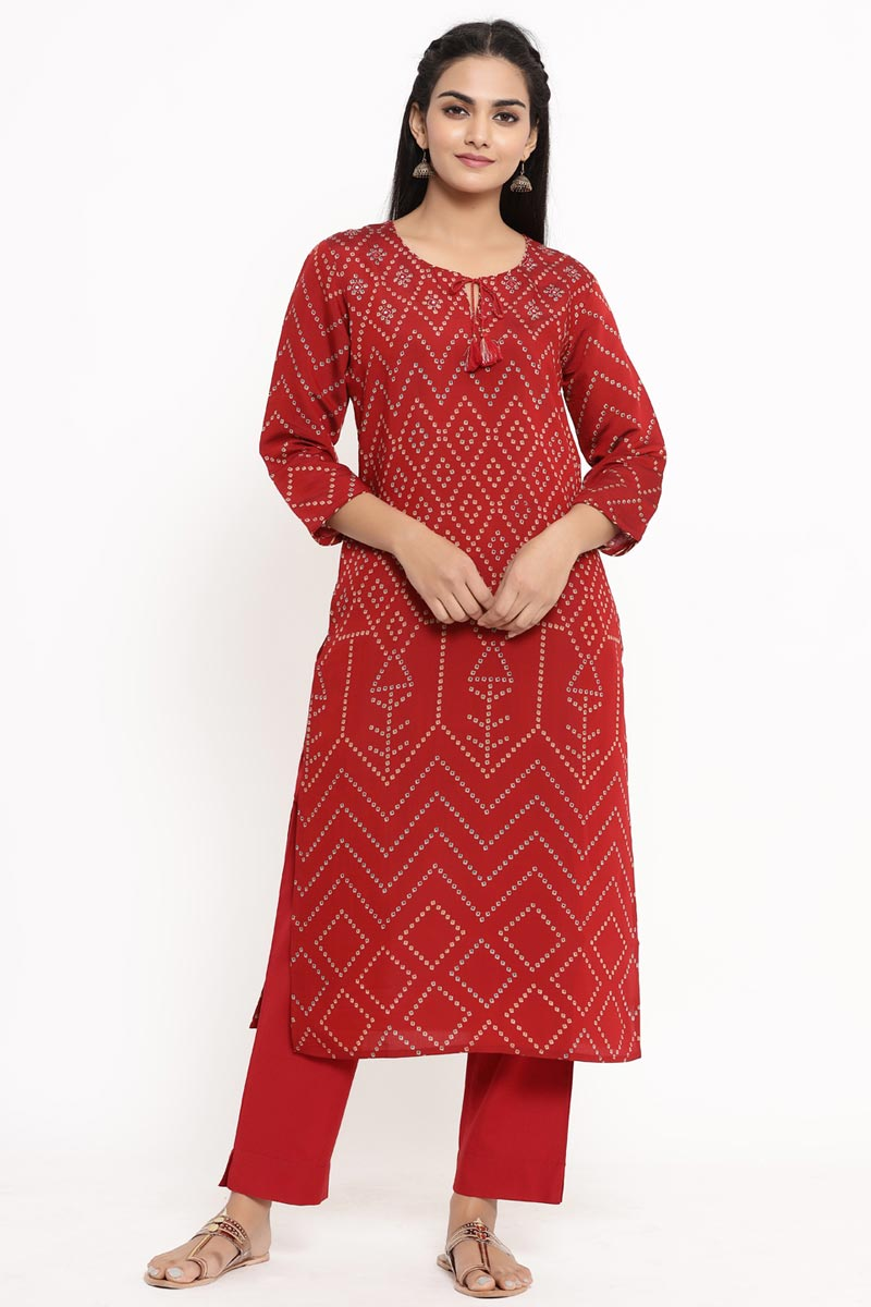 Exclusive Red Color Rayon Fabric Kurti With Bottom