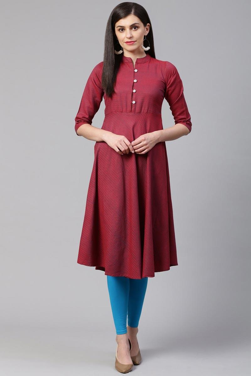 Exclusive MaroonColor Fancy Casual Wear Cotton Fabric Kurti