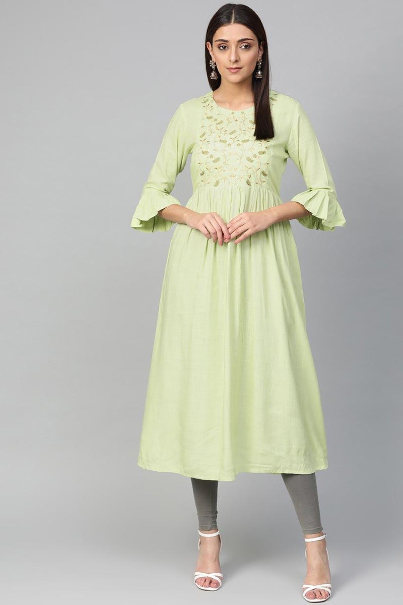 Exclusive Fancy Casual Wear Rayon Fabric Kurti In Sea Green Color