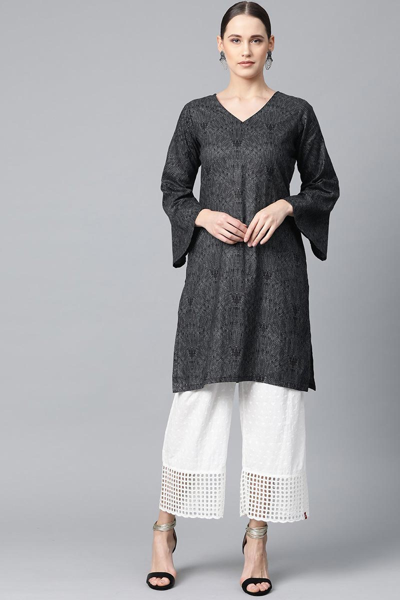 Exclusive Fancy Cotton Fabric Casual Wear Grey Color Kurti