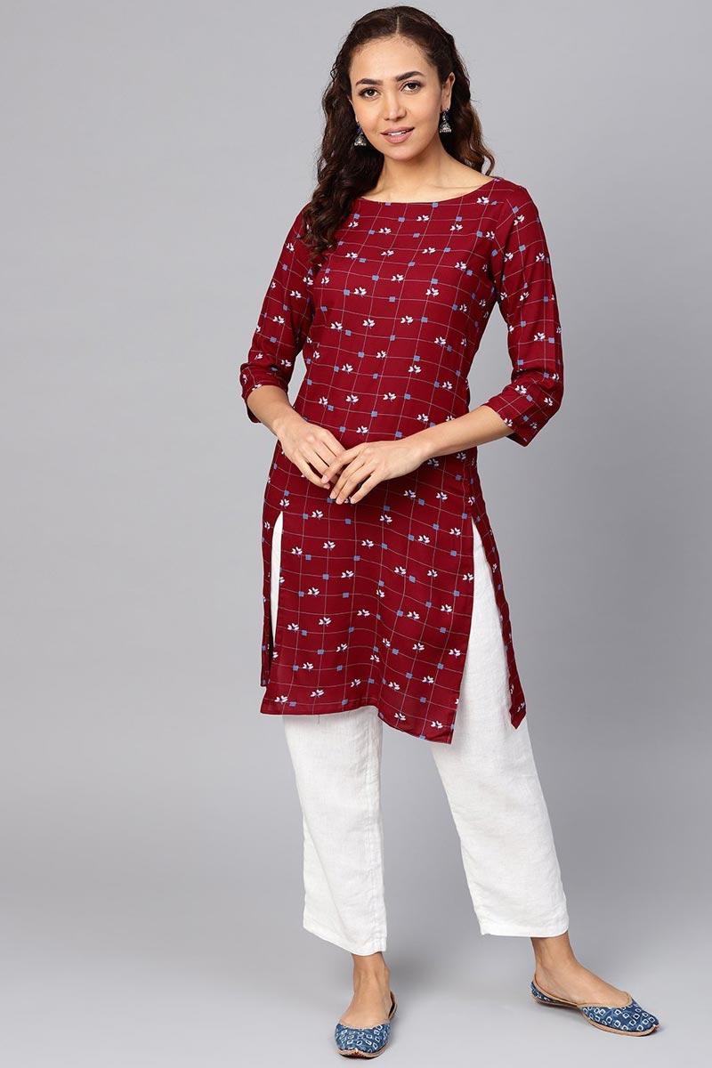 Exclusive Fancy Rayon Fabric Maroon Color Casual Wear Kurti