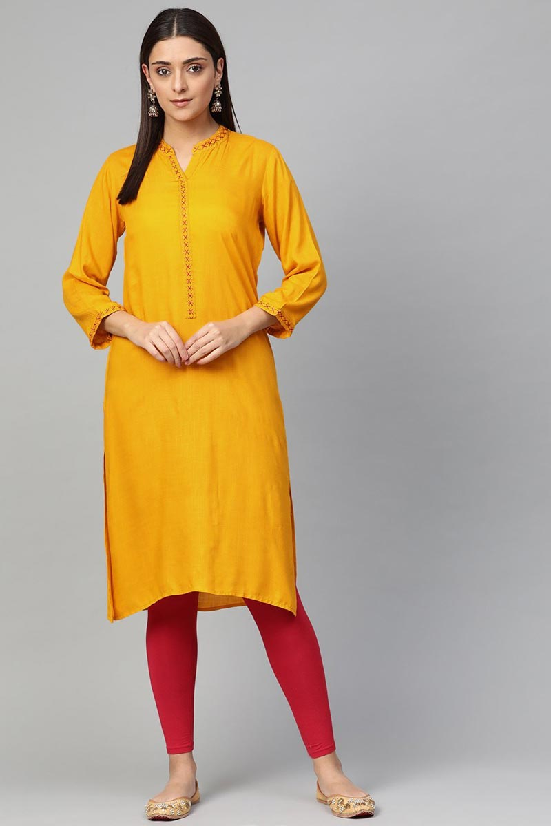 Exclusive Casual Wear Mustard Color Fancy Rayon Fabric Kurti