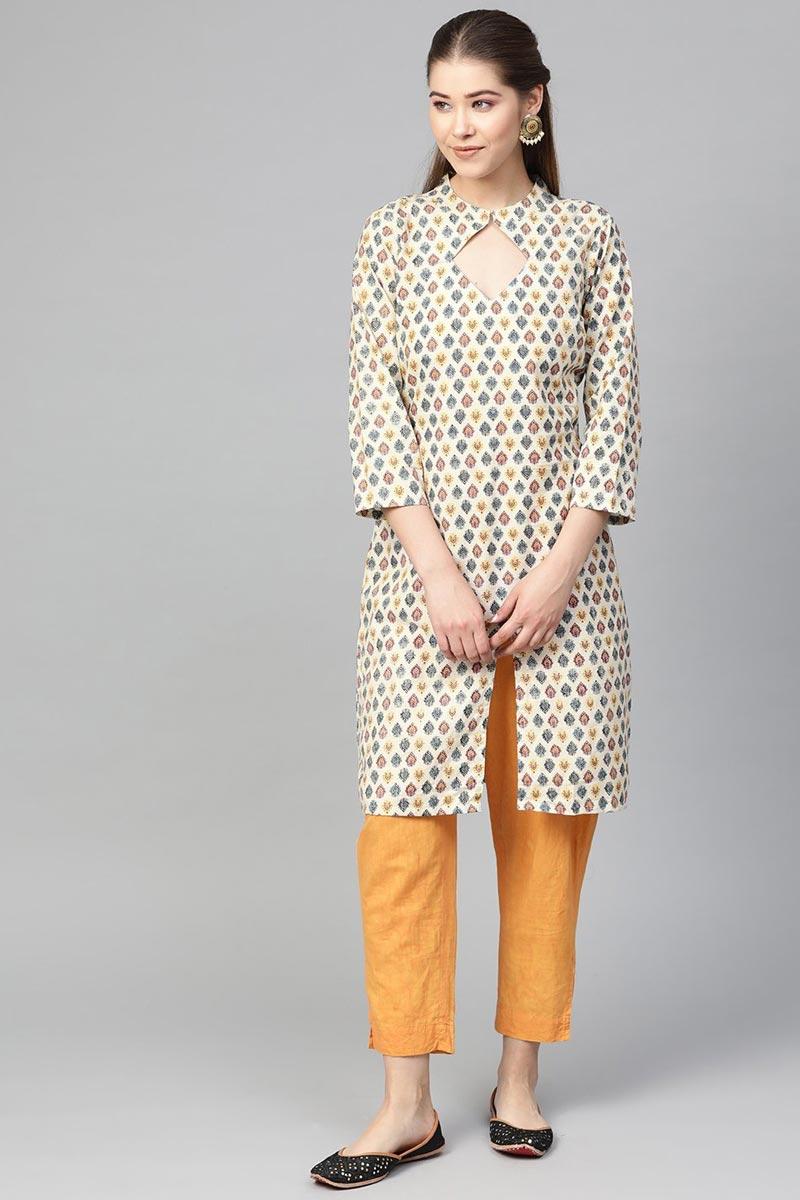 Exclusive Casual Wear Fancy Beige Color Cotton Fabric Kurti