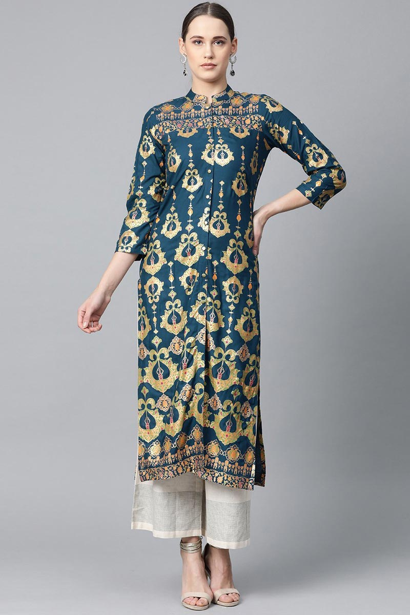 Exclusive Teal Color Casual Wear Fancy Rayon Fabric Kurti