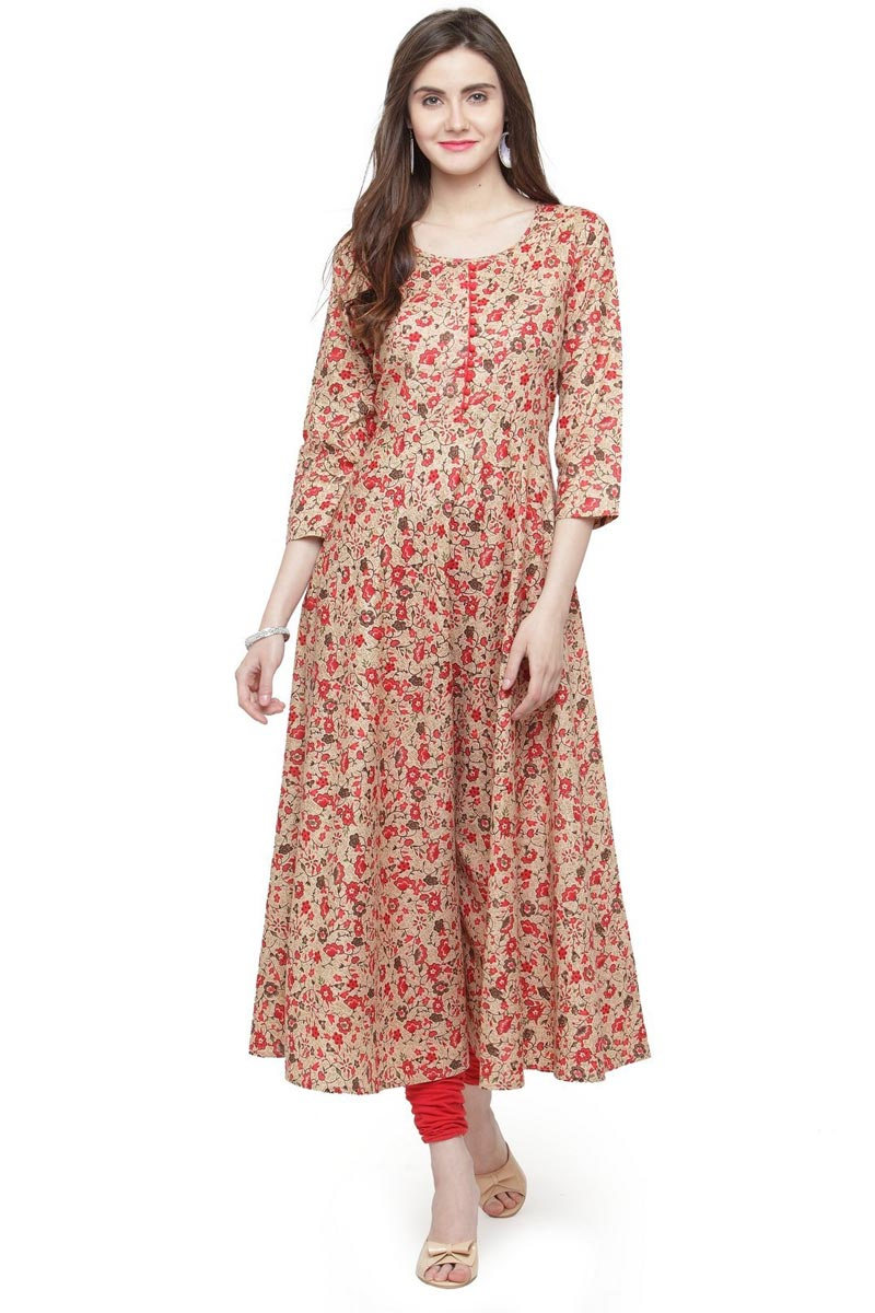 Exclusive Casual Wear Fancy Cotton Fabric Kurti In Beige Color