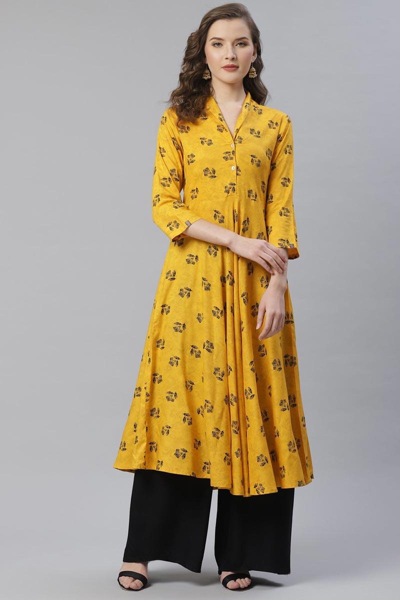 Exclusive Casual Wear Fancy Rayon Fabric Yellow Color Kurti