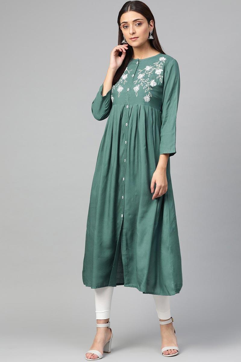 Exclusive Fancy Casual Wear Rayon Fabric Green Color Kurti