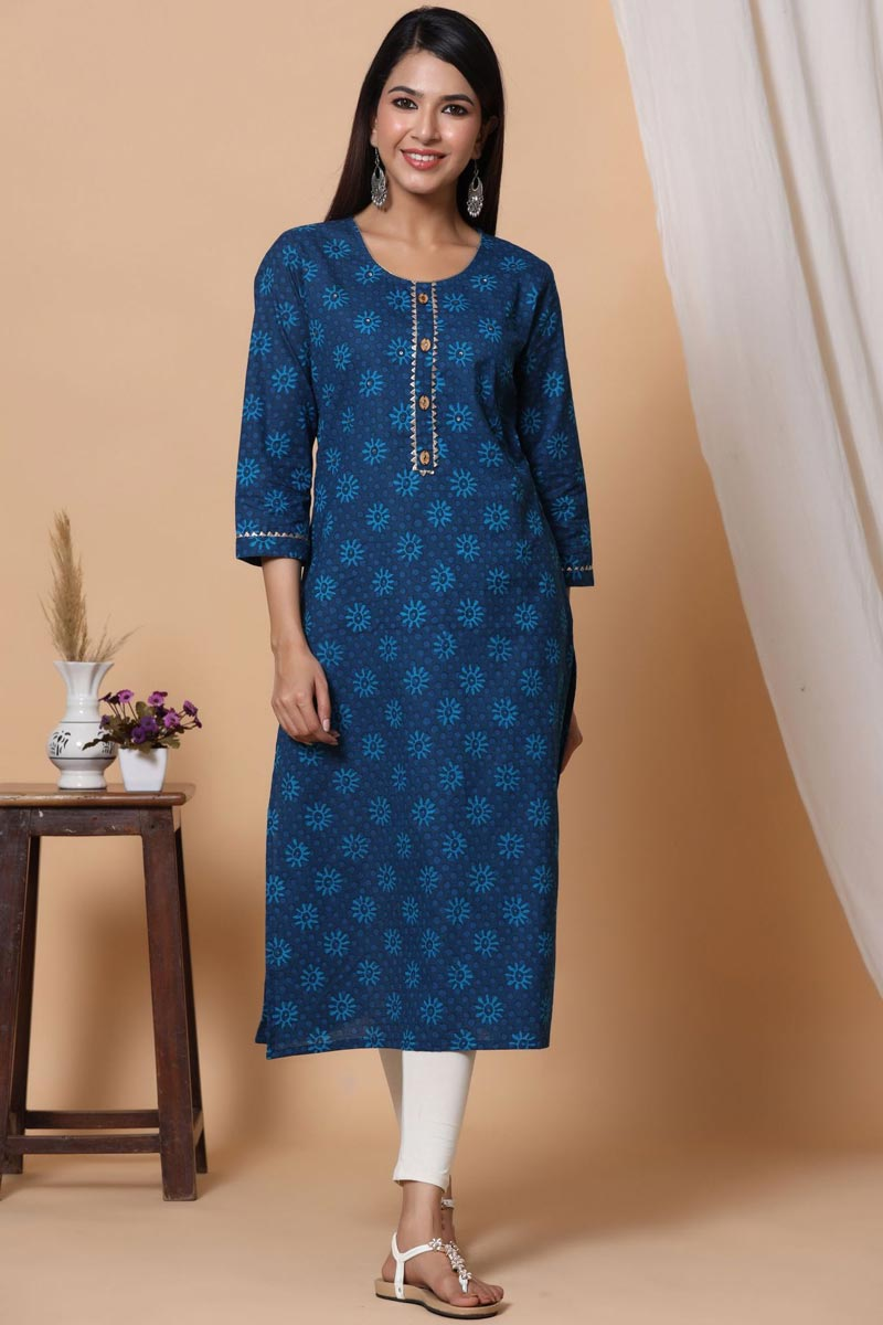 Exclusive Blue Color Cotton Fabric Readymade Printed Kurti