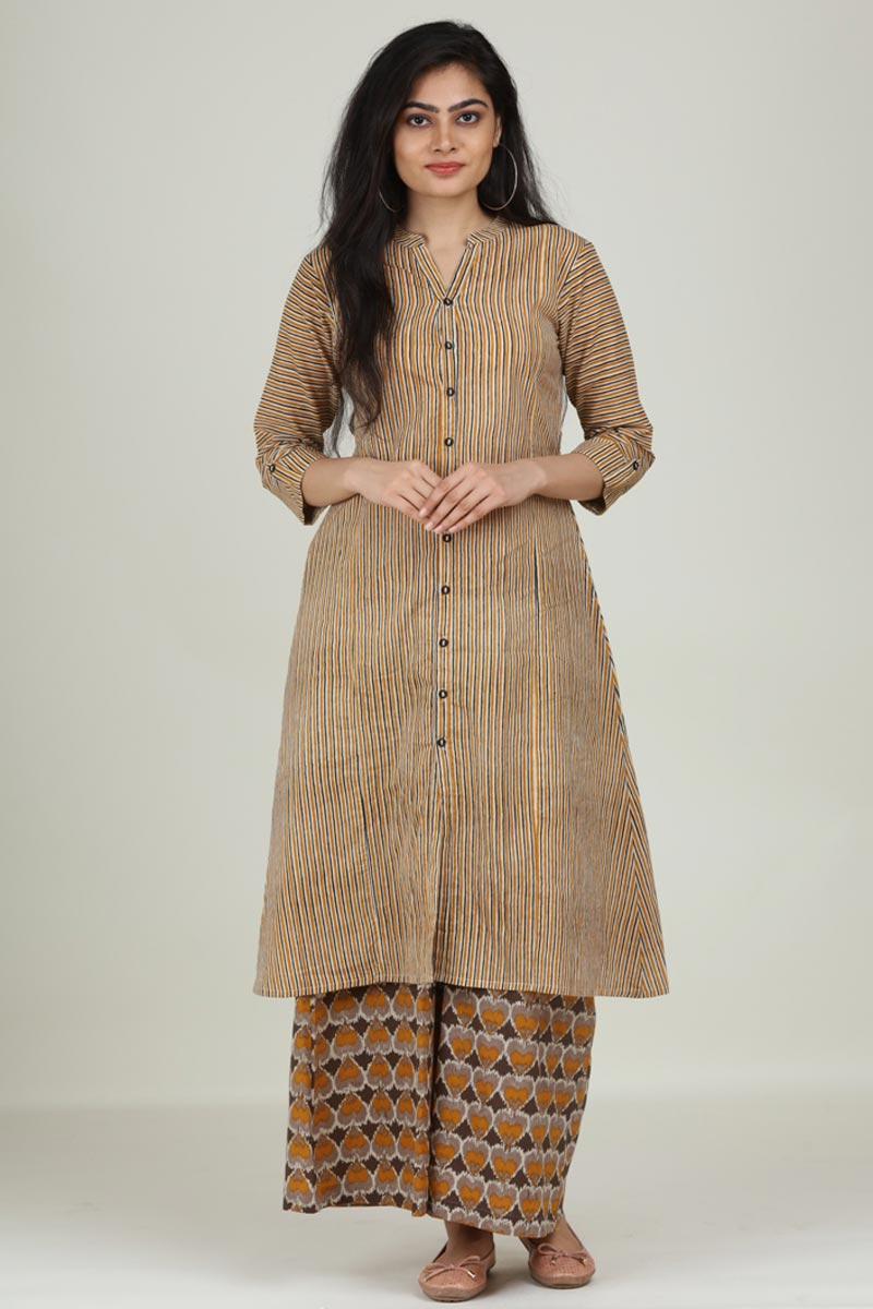 Exclusive Dark Beige Color Cotton Fabric Readymade Kurti With Palazzo Set