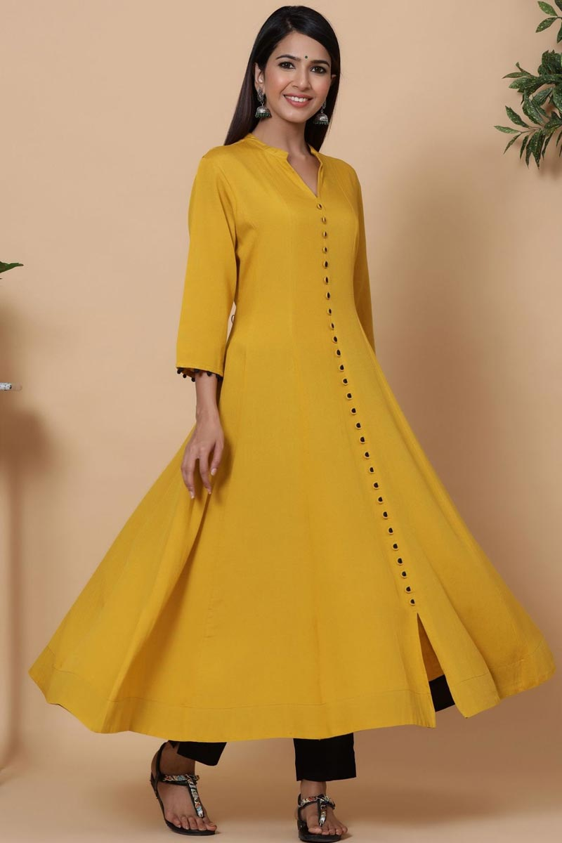 Exclusive Mustard Color Rayon Fabric Readymade Long Kurti With Straight Pant Set