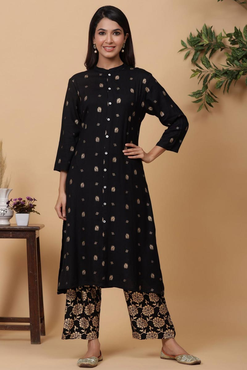 Exclusive Black Color Viscose Fabric Readymade Kurti With Straight Palazzo Set