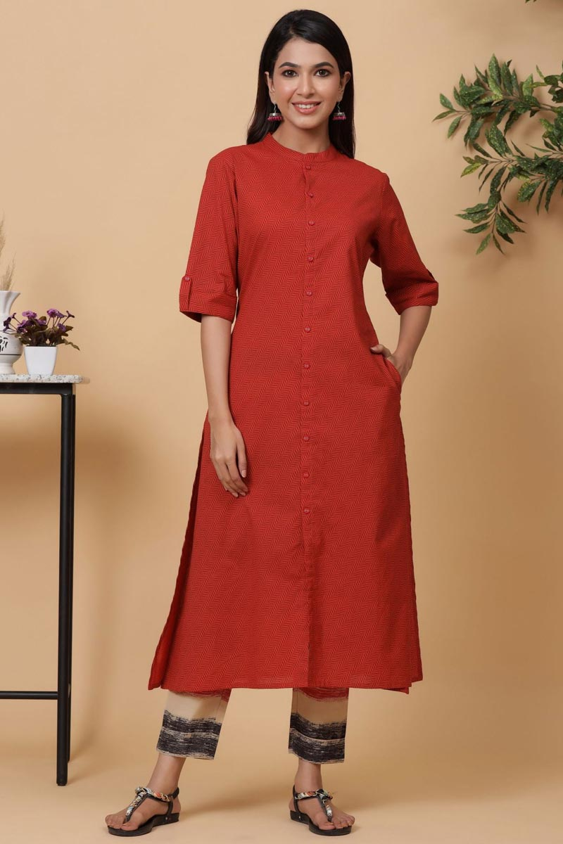 Exclusive Red Color Cotton Fabric Readymade Kurti With Pant Set