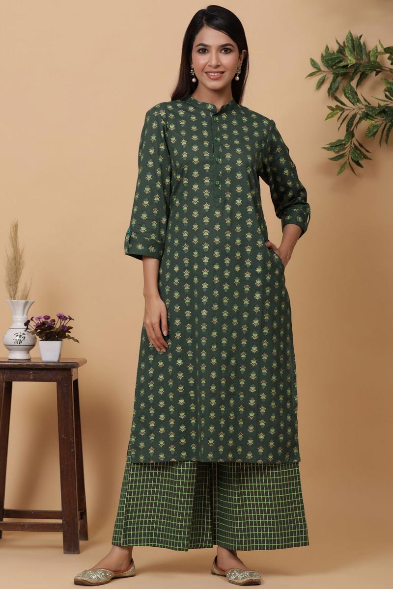 Exclusive Green Color Cotton Fabric Readymade Kurti With Straight Palazzo Set