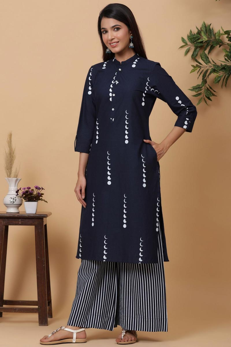 Exclusive Navy Blue Color Cotton Fabric Readymade Kurti With Straight Palazzo Set