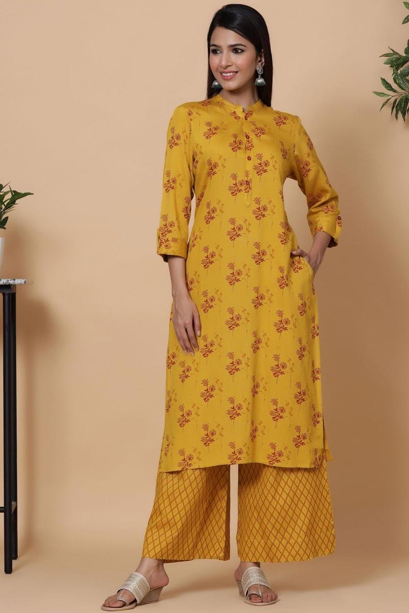 Exclusive Mustard Color Rayon Fabric Readymade Kurti With Straight Palazzo Set