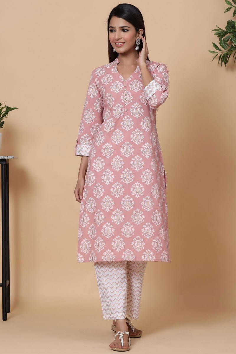 Exclusive Pink Color Cotton Fabric Readymade Kurti With Straight Palazzo Set