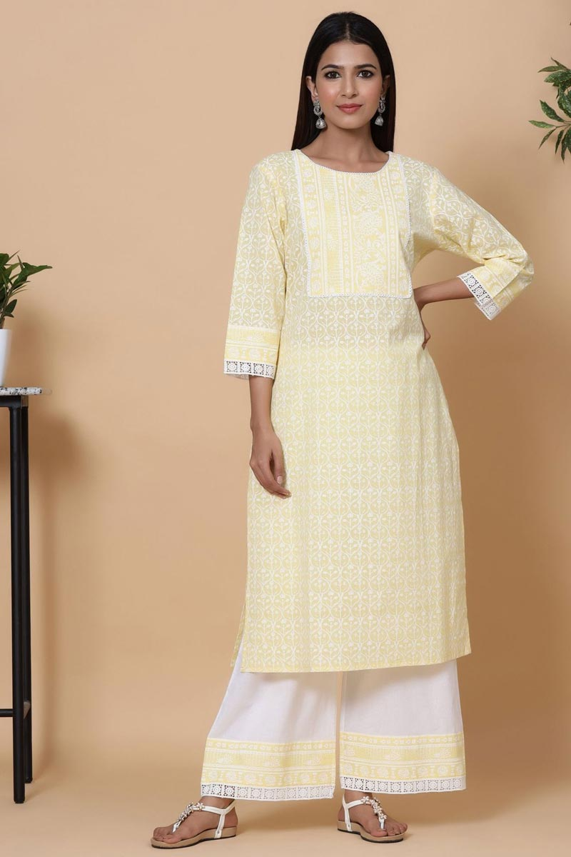 Exclusive Yellow Color Cotton Fabric Readymade Kurti With Straight Palazzo Set