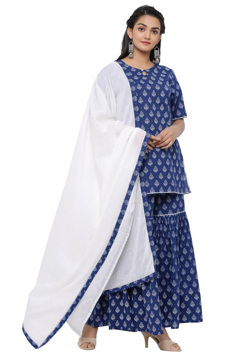 Exclusive Blue Color Cotton Fabric Readymade Short Straight Kurti With Sharara And Dupatta Set