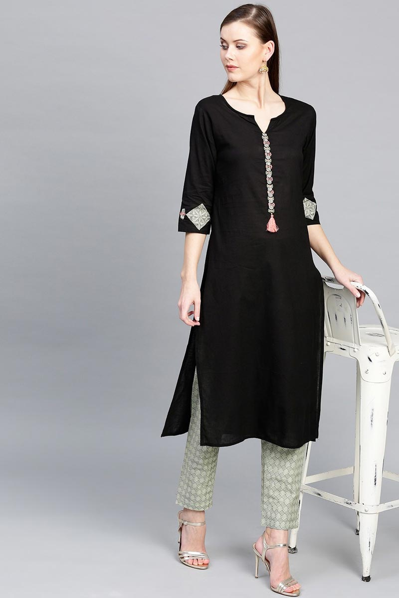 Exclusive Cotton Fabric Black Color Casual Wear Kurti Pent Set