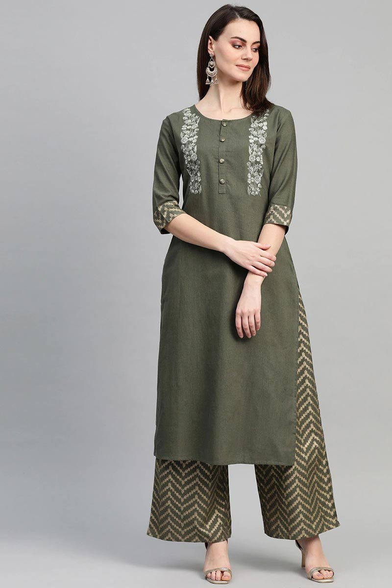Exclusive Casual Wear Cotton Fabric Mehendi Green Color Kurti With Palazzo