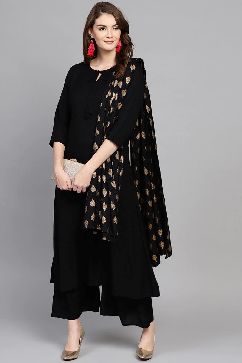 Exclusive Black Color Casual Wear Viscose Fabric Palazzo Suit