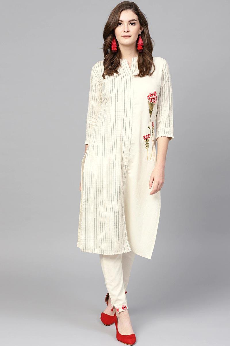 Exclusive Cotton Fabric Casual Wear Off White Color Kurti Pent Set
