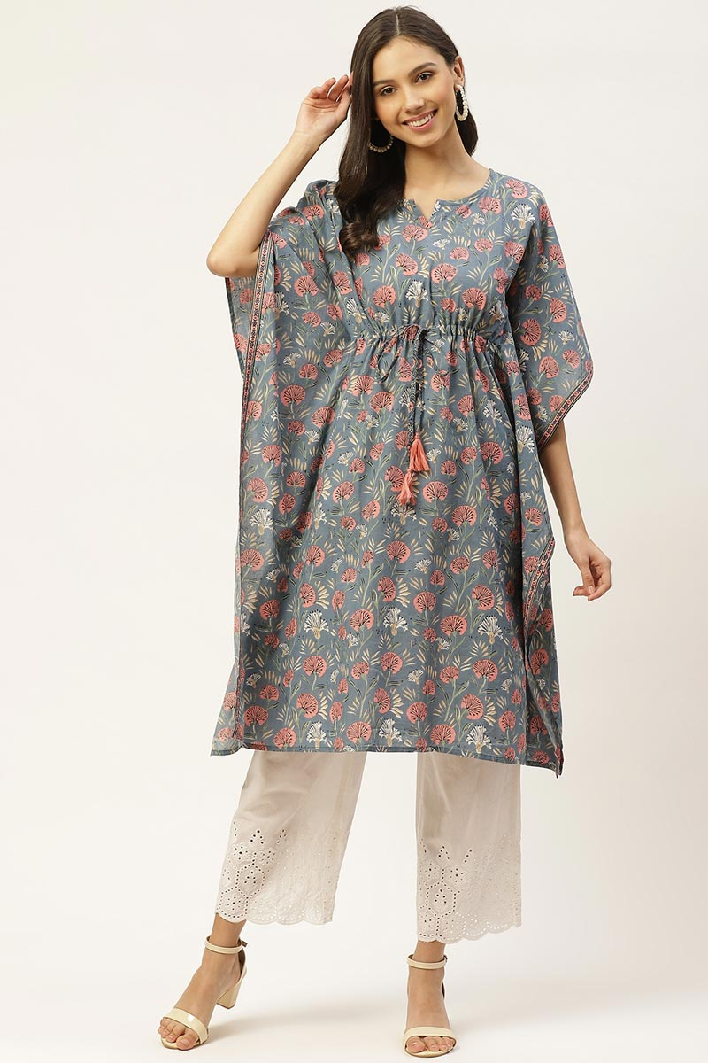 Exclusive Grey Color Cotton Fabric Casual Wear Designer Kaftan Kurti