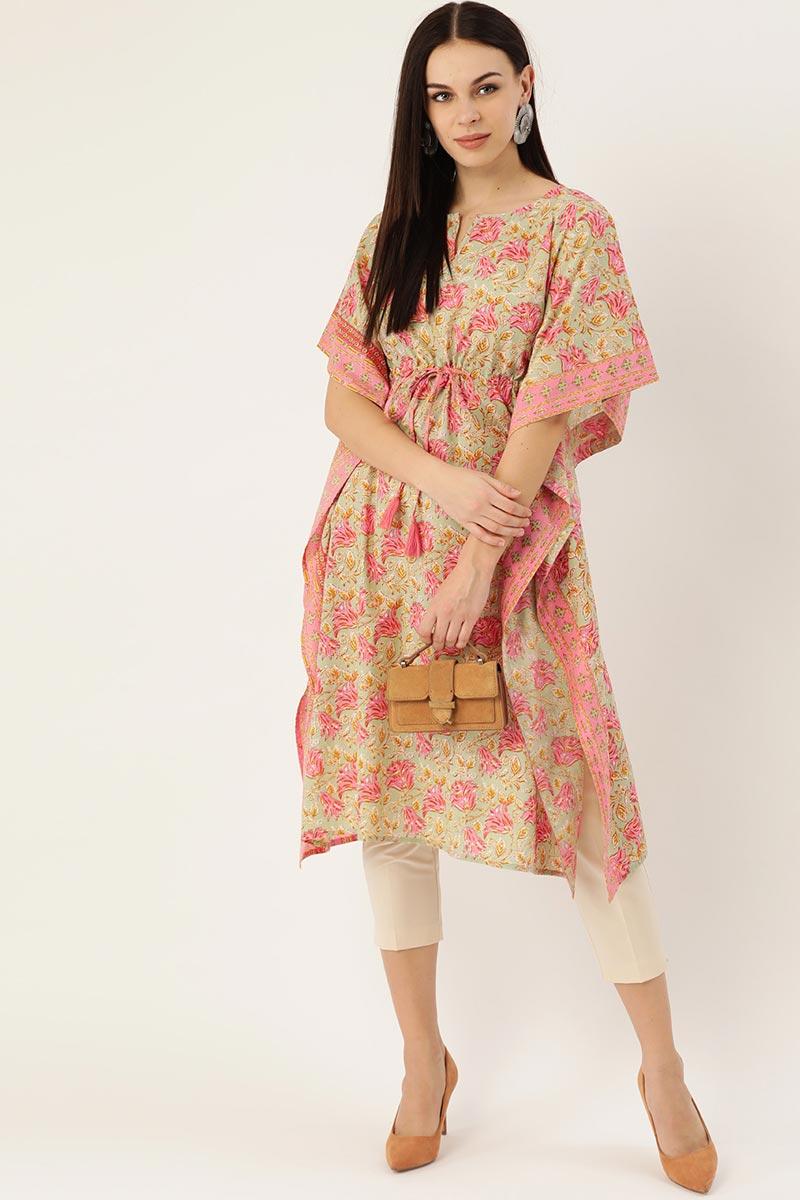 Exclusive Peach Color Cotton Fabric Daily Wear Designer Kaftan Kurti