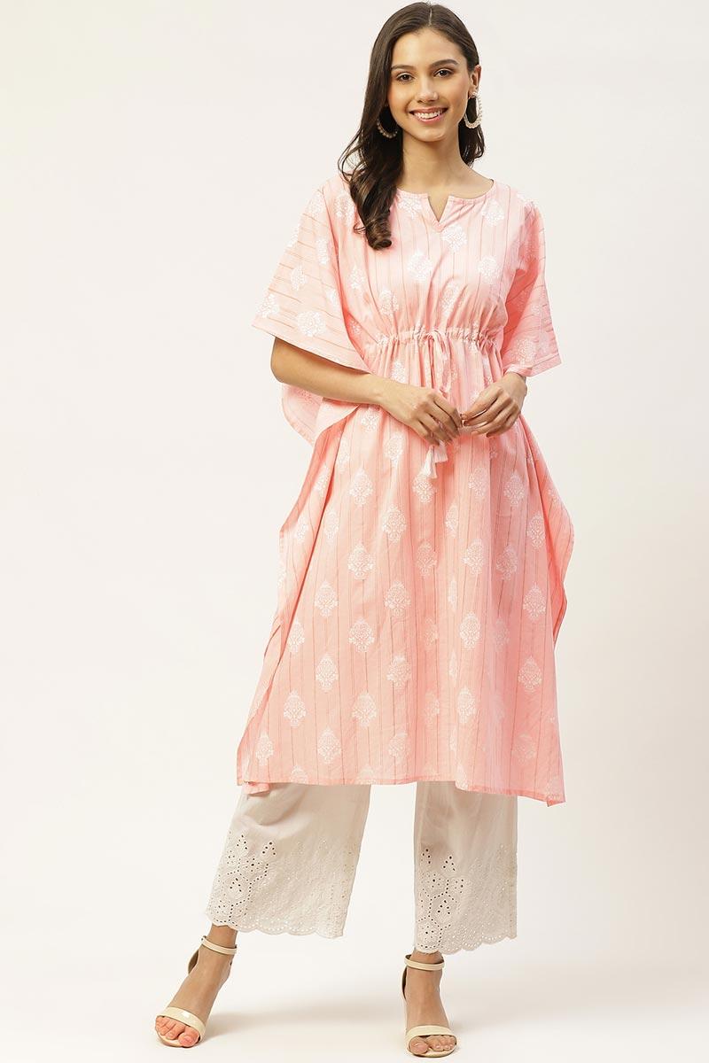 Exclusive Pink Color Cotton Fabric Office Wear Designer Kaftan Kurti