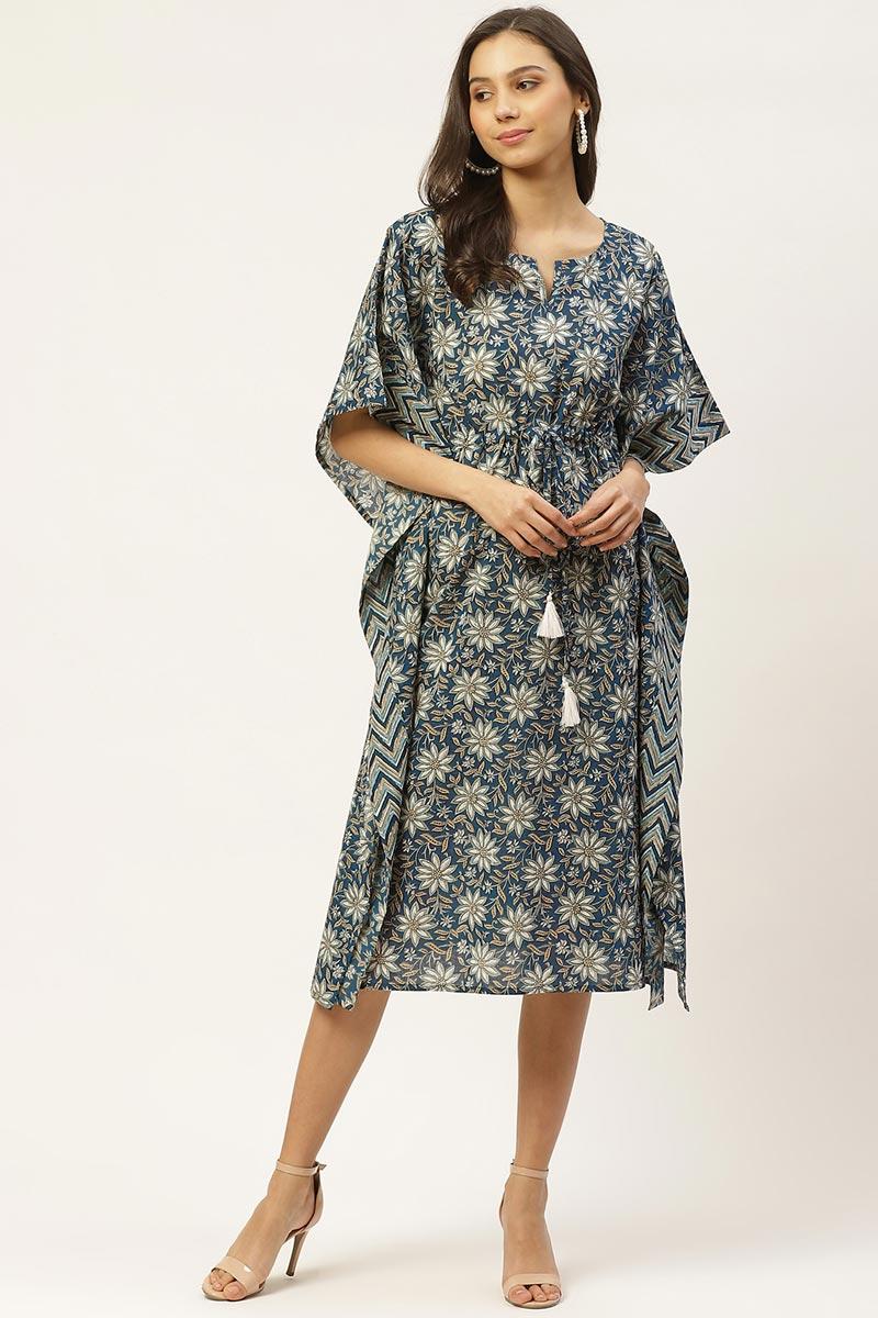 Exclusive Navy Blue Color Cotton Fabric Casual Wear Designer Kaftan Kurti