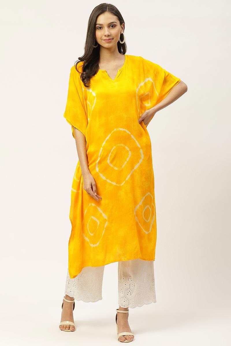 Exclusive Yellow Color Cotton Fabric Daily Wear Designer Kaftan Kurti