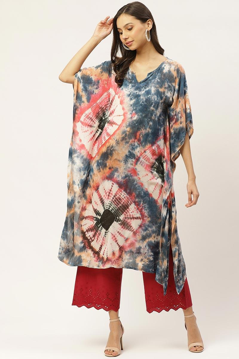 Exclusive Multi Color Color Cotton Fabric Casual Wear Designer Kaftan Kurti