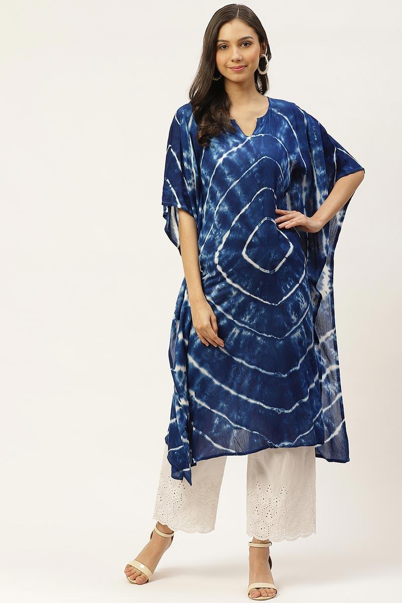 Exclusive Navy Blue Color Cotton Fabric Daily Wear Designer Kaftan Kurti