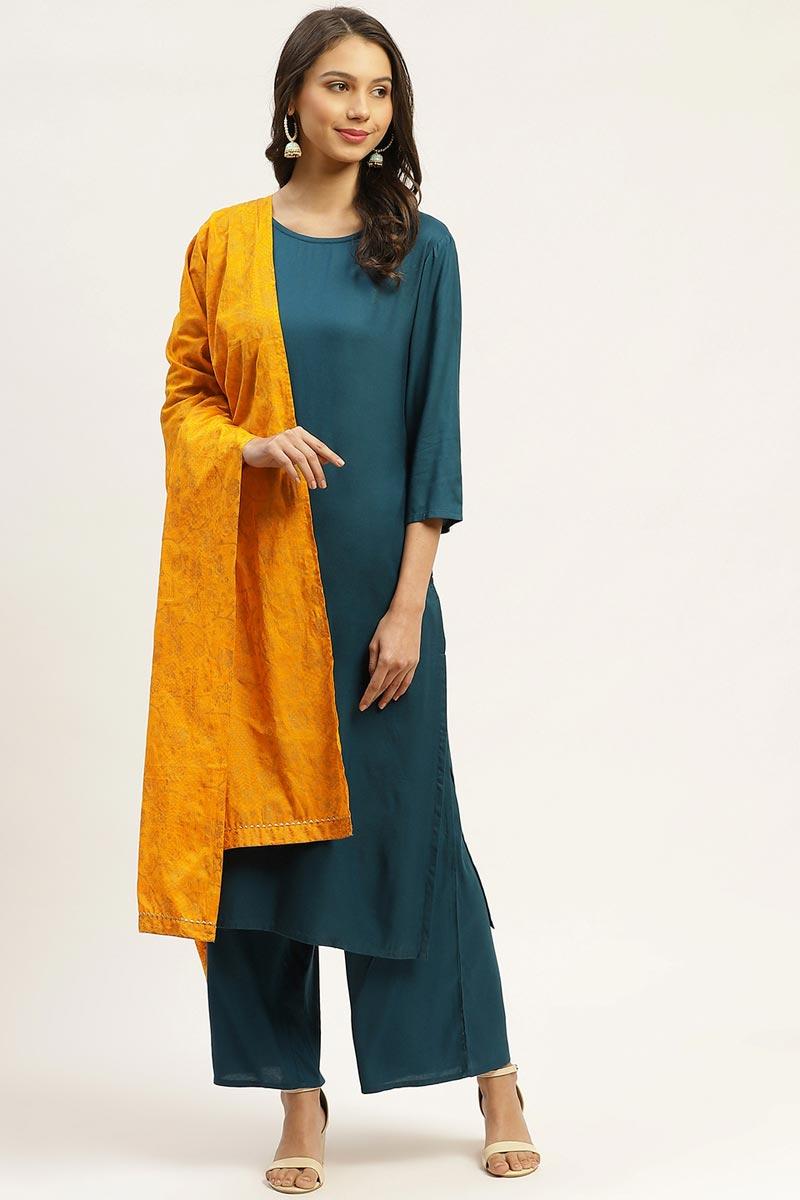 Exclusive Teal Color Rayon Fabric Designer Printed Salwar Set