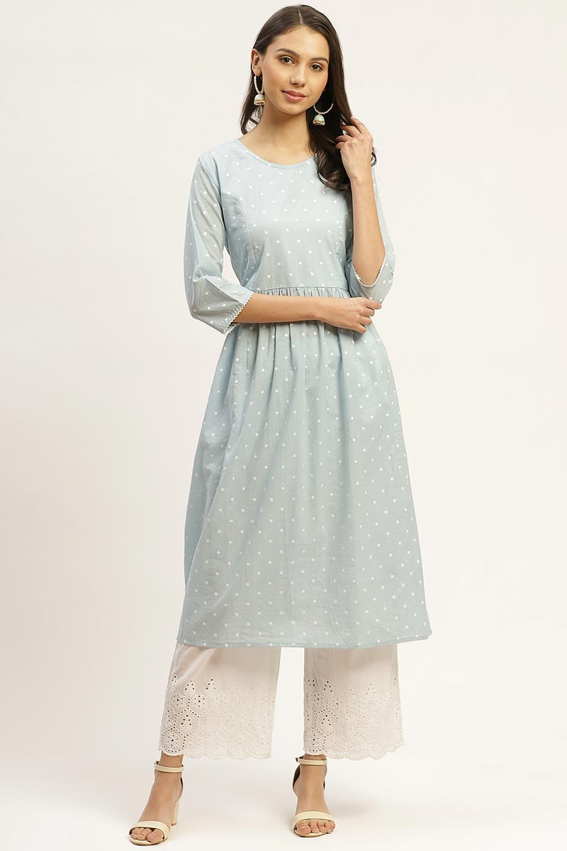 Exclusive Light Cyan Color Cotton Fabric Designer Top And Bottom Set