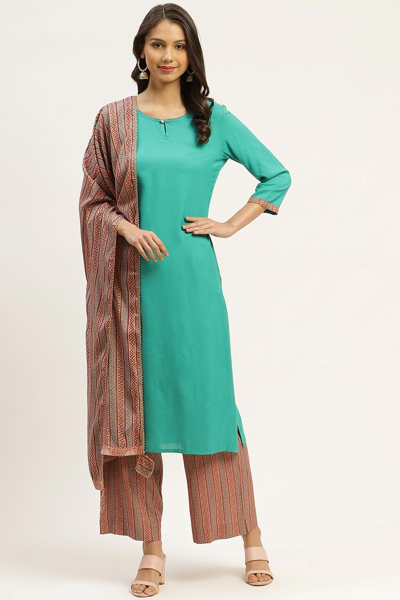 Exclusive Cyan Color Rayon Fabric Designer Printed Salwar Set