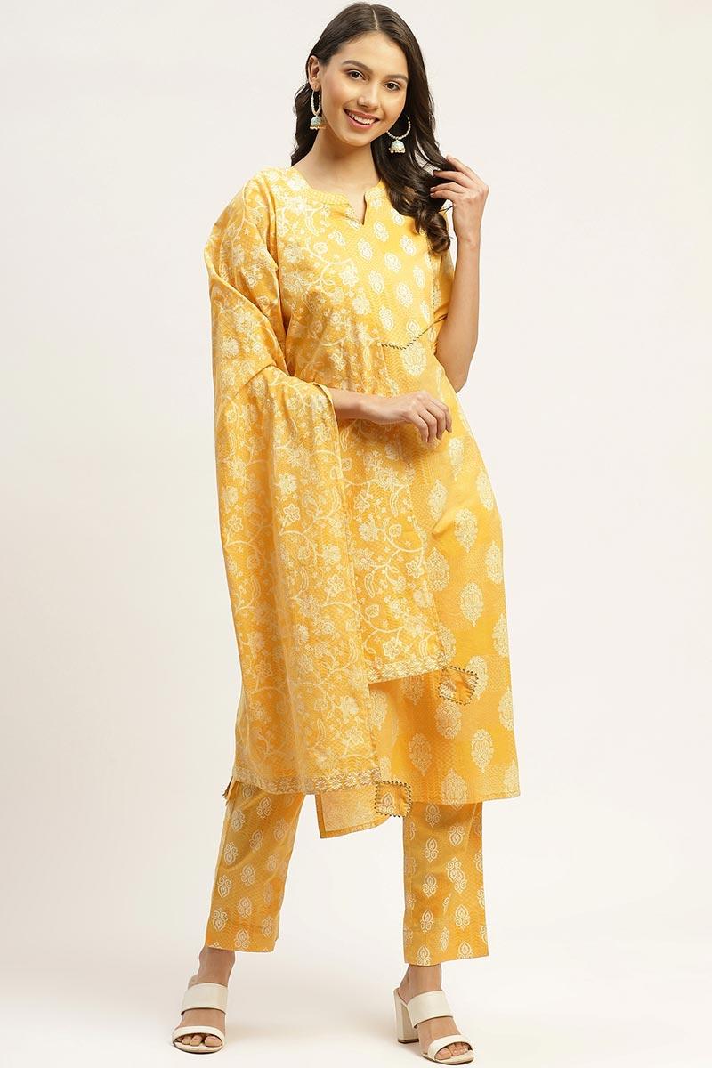 Exclusive Yellow Color Cotton Fabric Designer Printed Salwar Set
