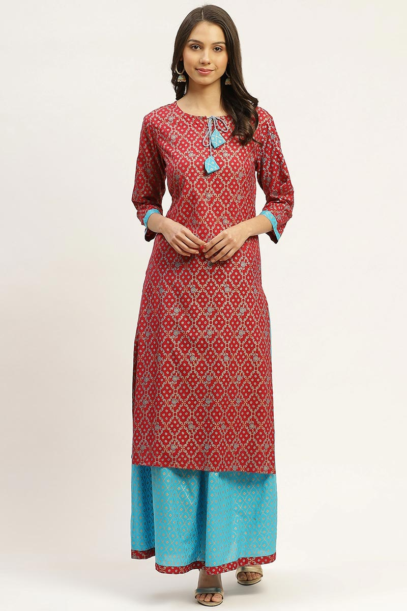 Exclusive Maroon Color Cotton Fabric Designer Top And Bottom Set