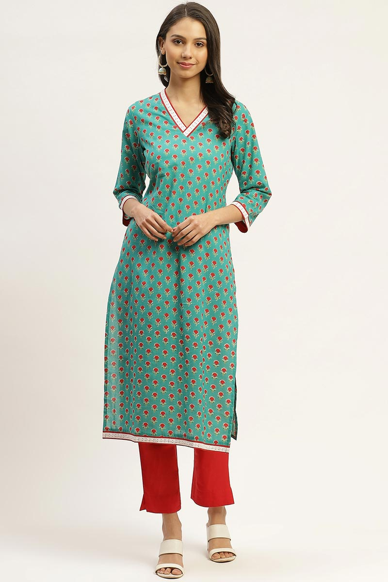 Exclusive Cyan Color Cotton Fabric Designer Top And Bottom Set
