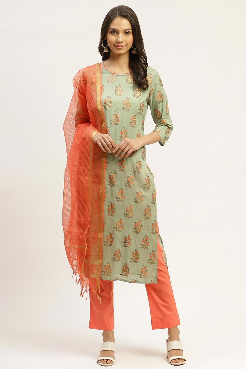 Exclusive Sea Green Color Cotton Fabric Designer Printed Salwar Set