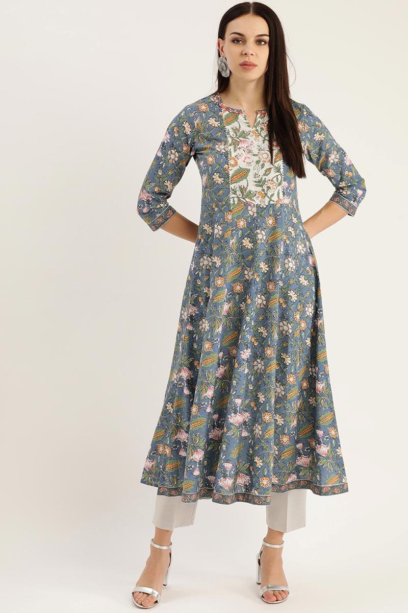 Exclusive Grey Color Cotton Fabric Anarkali Type Kurti