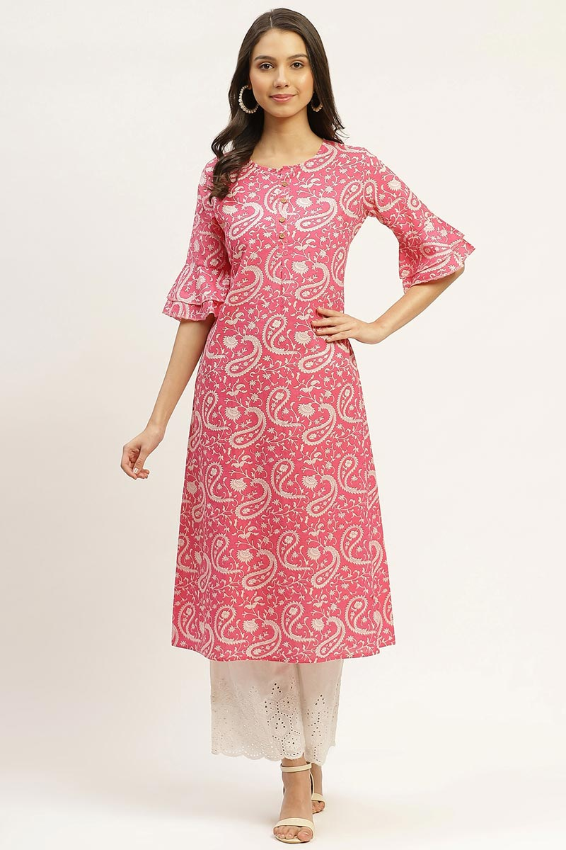 Exclusive Pink Color Cotton Fabric Kurti
