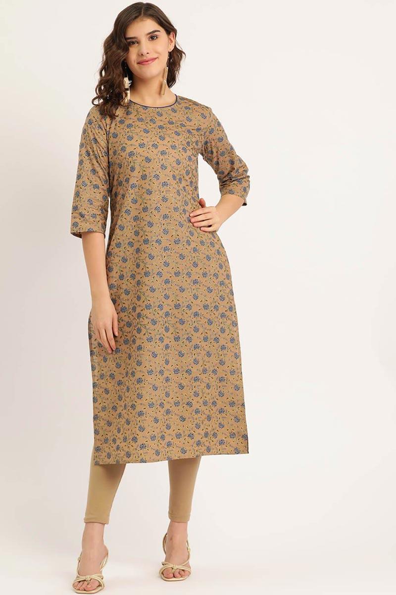 Exclusive Chikoo Color Cotton Fabric Kurti