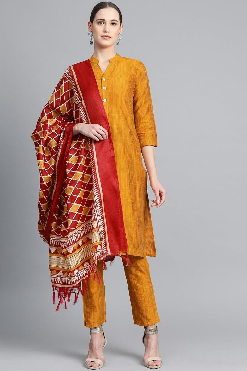 Exclusive Mustard Color Cotton Fabric Salwar Set