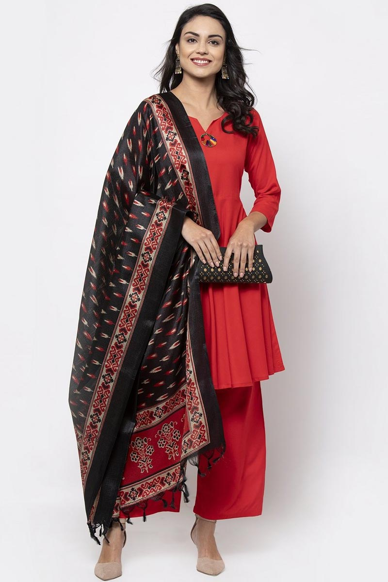 Exclusive Red Color Rayon Fabric Salwar Set