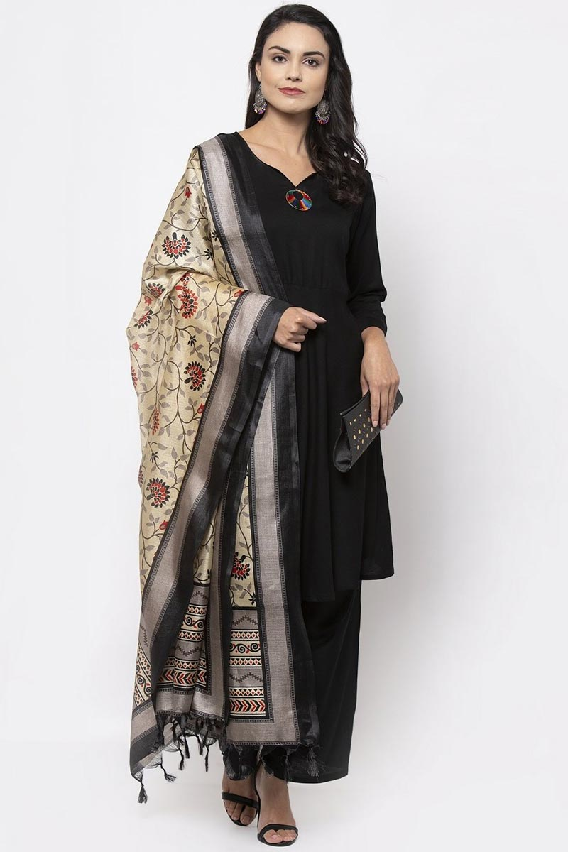 Exclusive Black Color Rayon Fabric Salwar Set