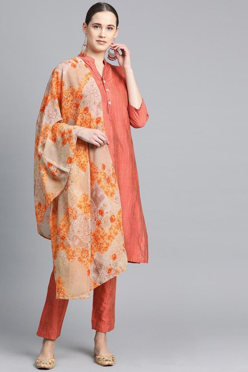 Exclusive Peach Color Cotton Fabric Salwar Set