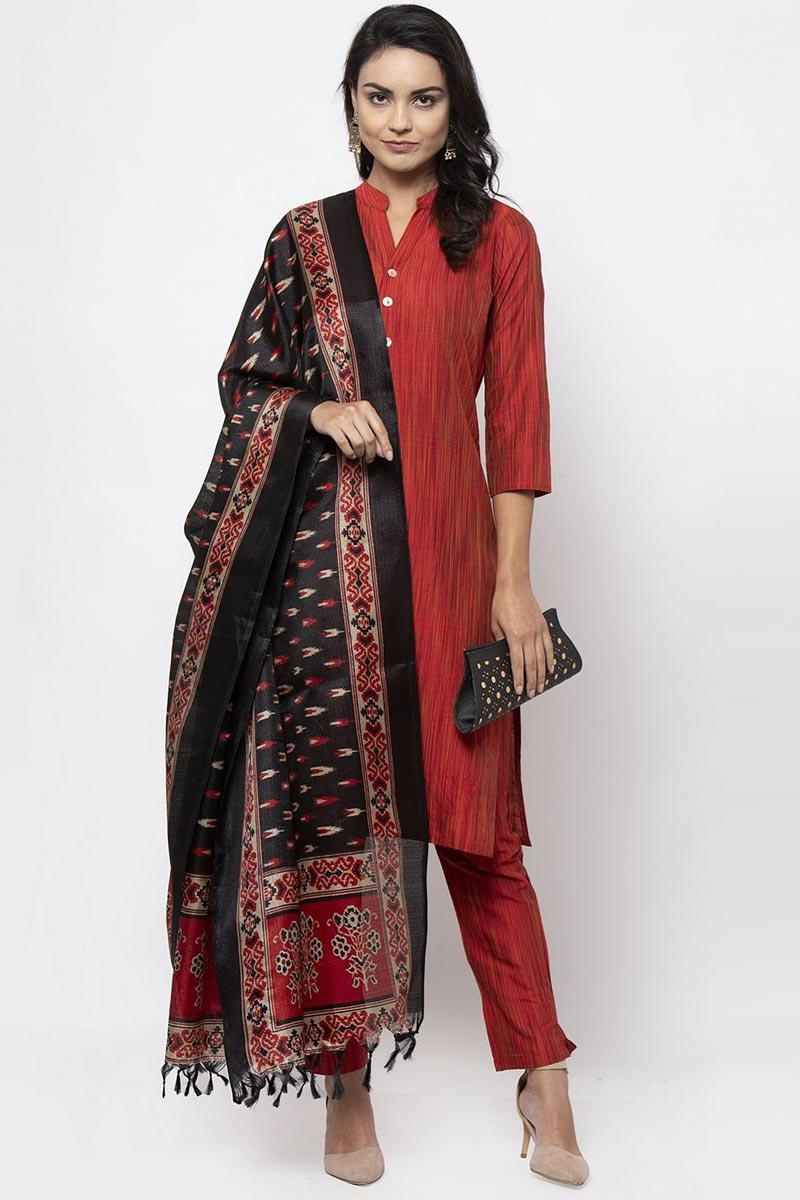 Exclusive Red Color Cotton Fabric Salwar Set