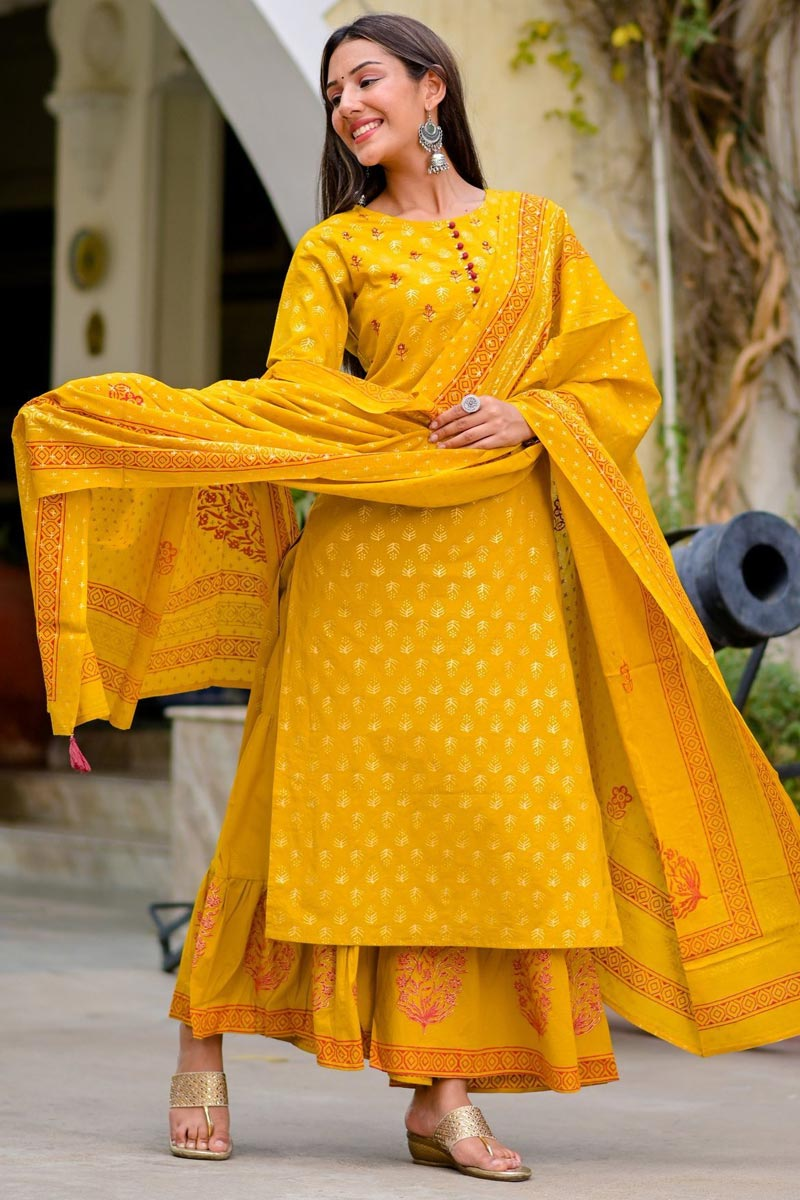 Exclusive Mustard Color Cotton Fabric Printed Fancy Daily Wear Sharara Suit