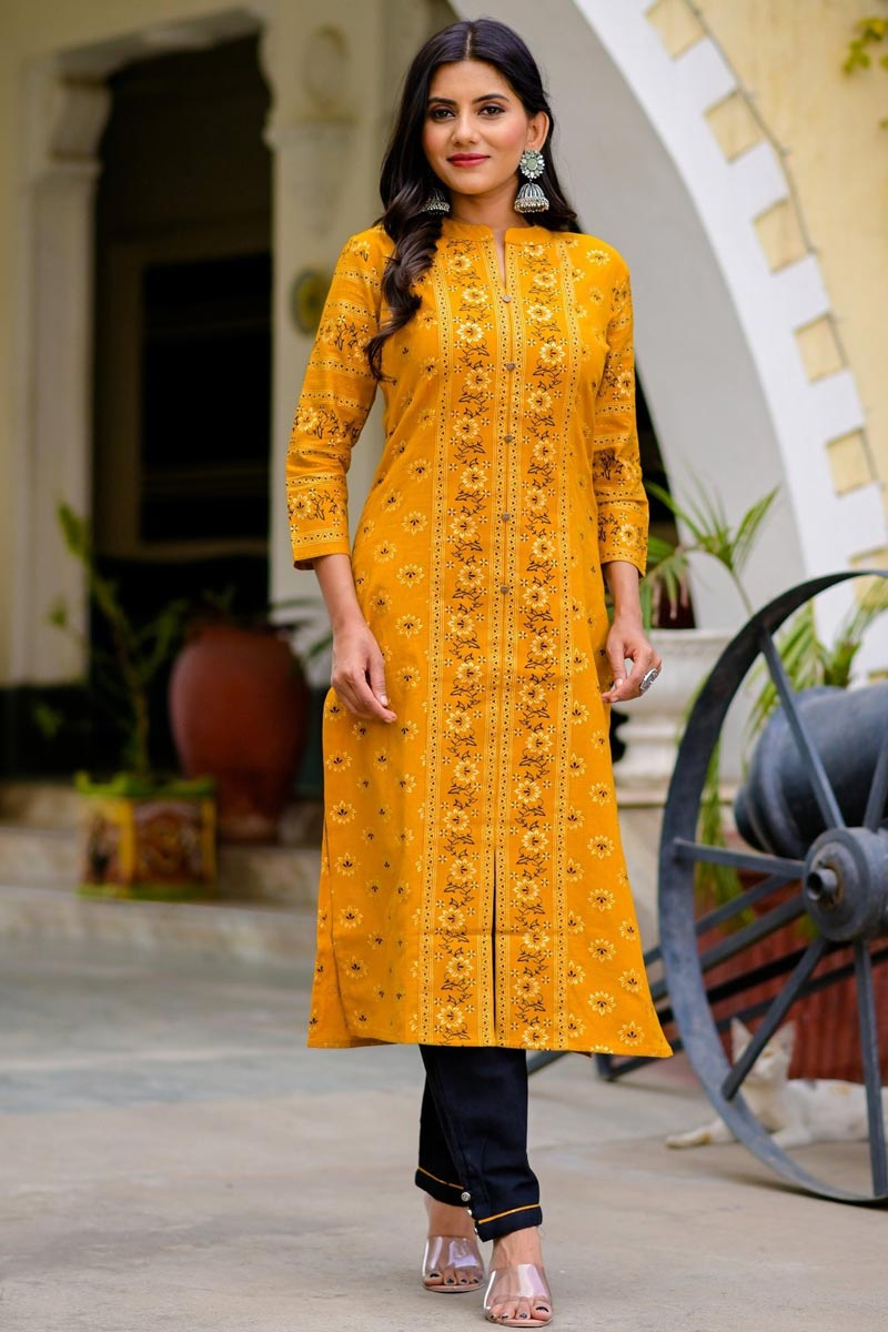 Exclusive Cotton Fabric Printed Trendy Casual Wear Straight Cut Kurti In Mustard Color